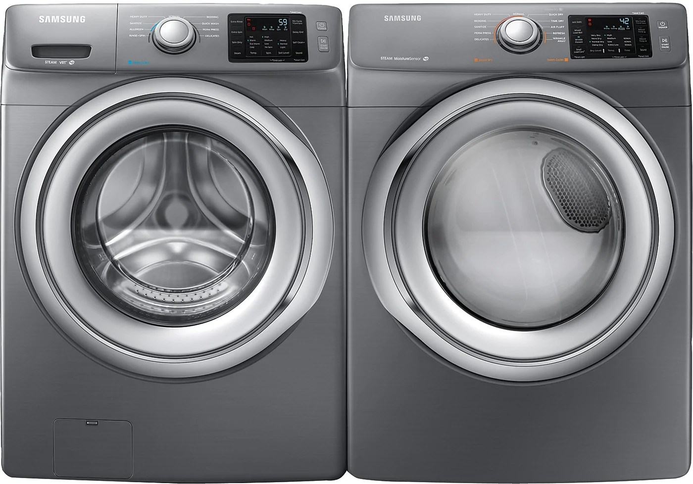 Samsung Front Load Washer Samsung 4 8 Cu Ft Front Load Washer And 7 5 Cu Ft Electric Dryer Platinum