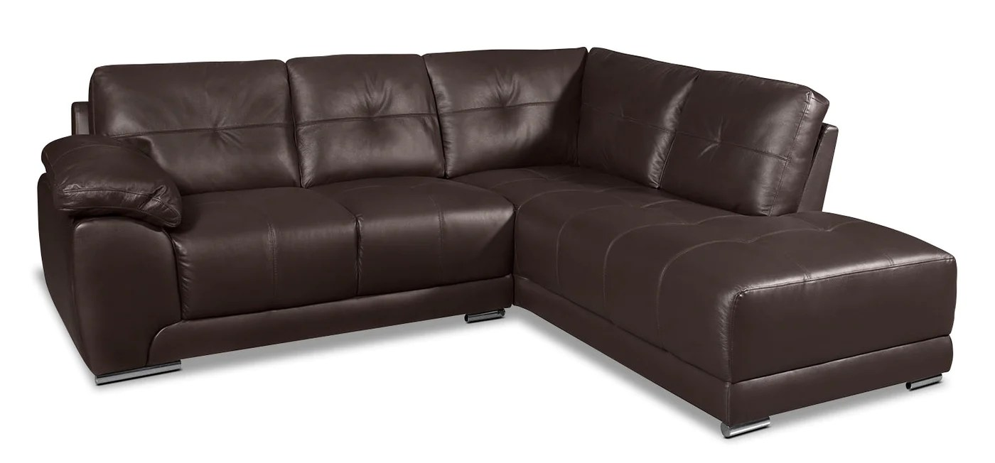 Brown Real Leather Couch Rylee 2 Piece Genuine Leather Right Facing Sectional Brown