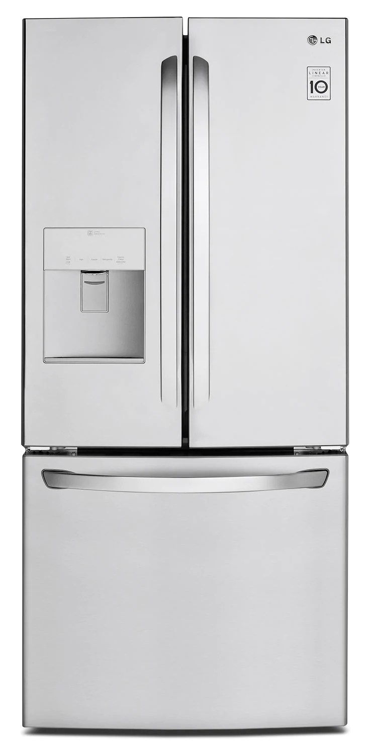Refrigerateur Lg Lg 22 Cu Ft French Door Refrigerator With Water Dispenser Stainless Steel