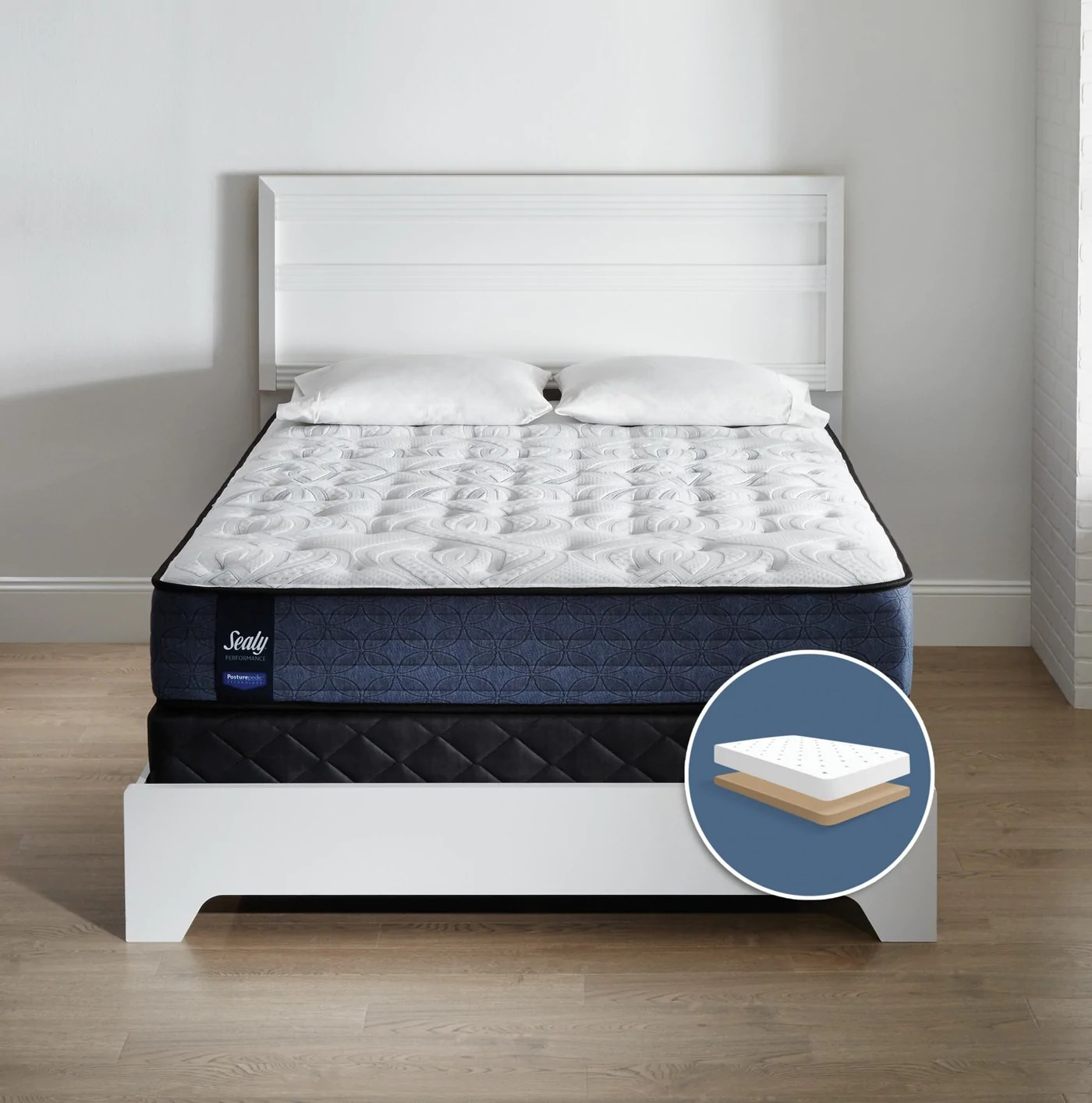 Sommier Bas Sealy Narrative Semi Ferme Ens Matelas Sommier Simple