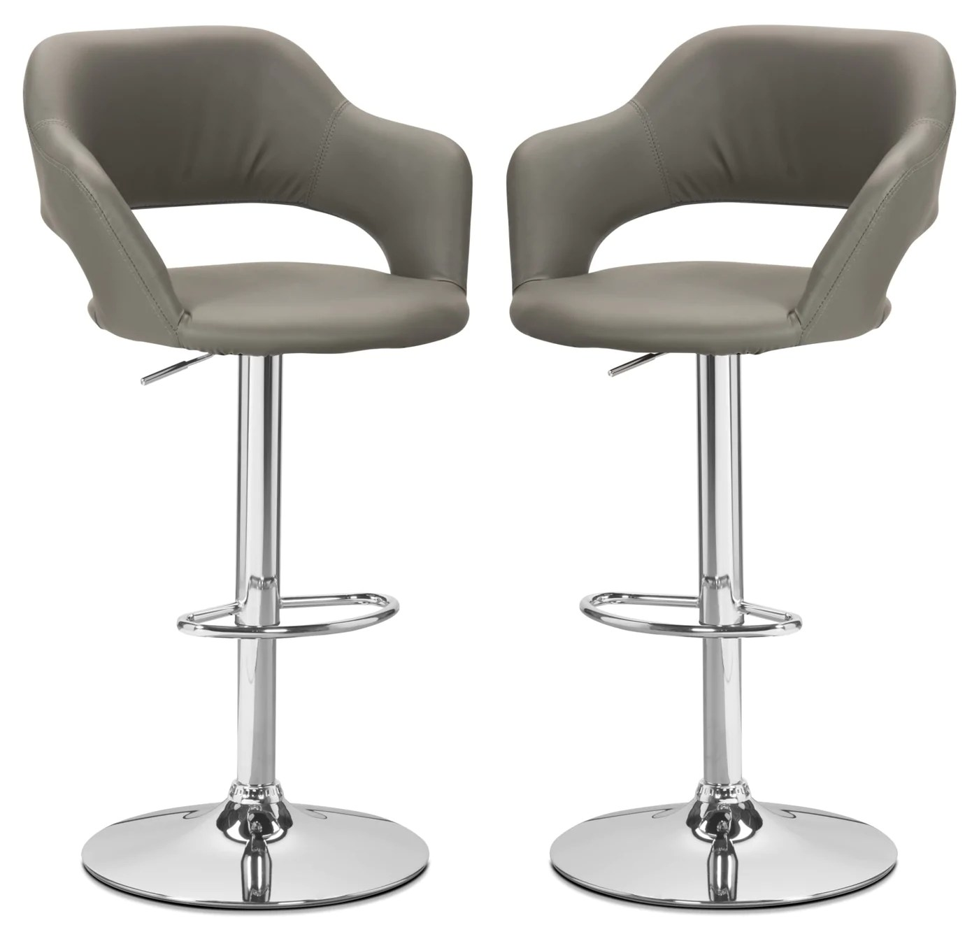 Accent Rex Meubles Monarch Hydraulic Contemporary Bar Stool Set Of 2 Grey