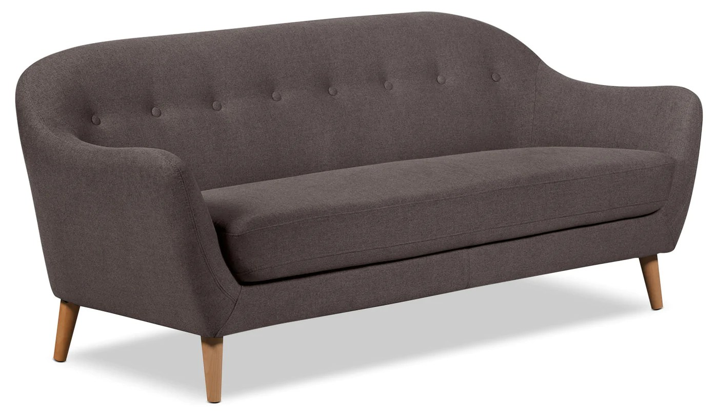 Canapé D'angle Kijiji Calla Linen Look Fabric Sofa Dark Grey