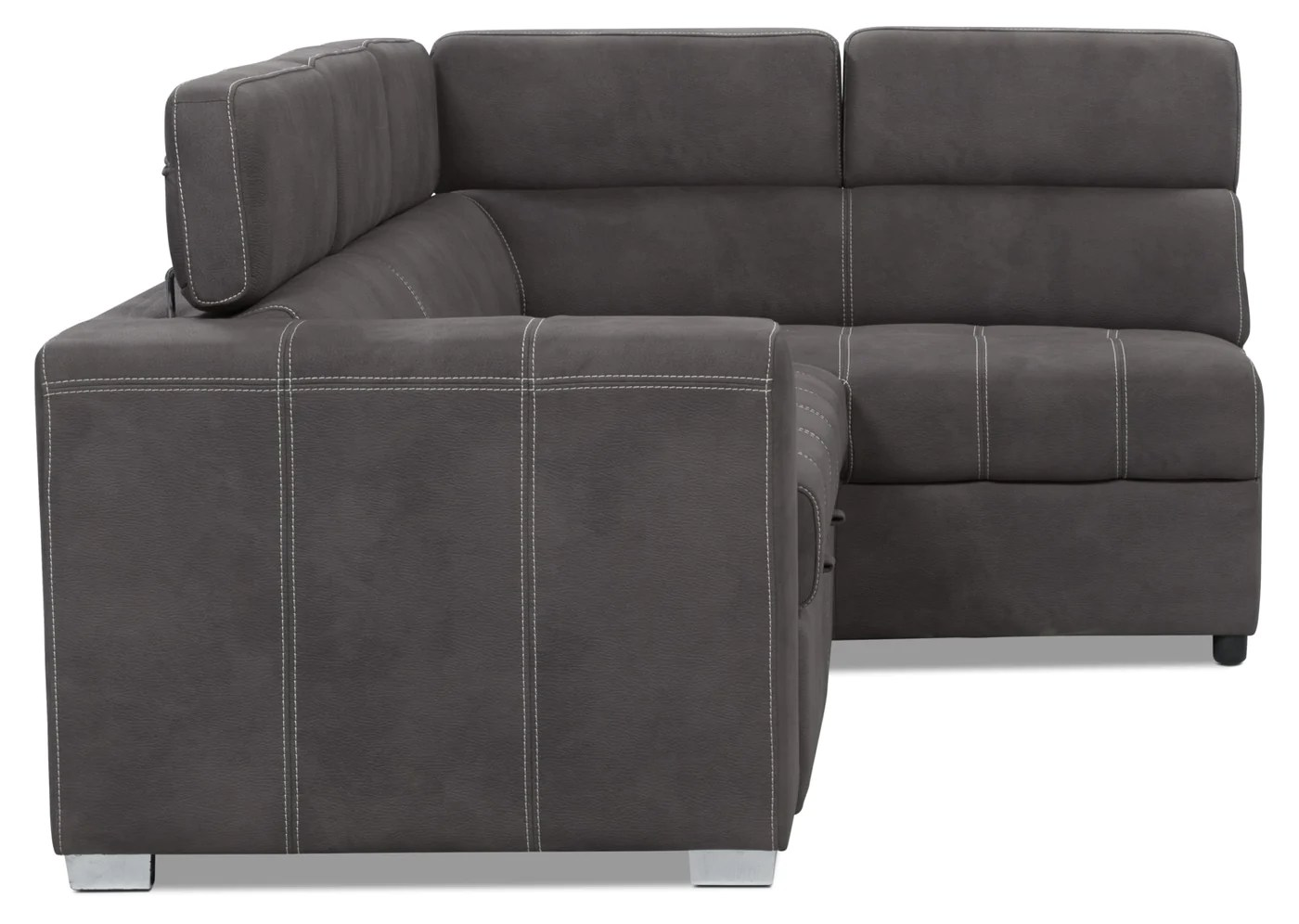 Brick Meubles Divan Lit Drake 3 Piece Faux Suede Right Facing Sleeper Sectional Cement