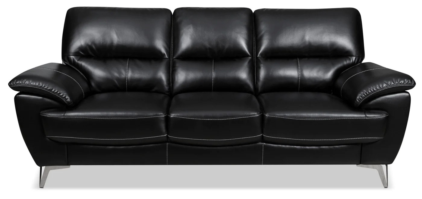 Moderne Sofas For Kids Olivia Leather Look Fabric Sofa Black