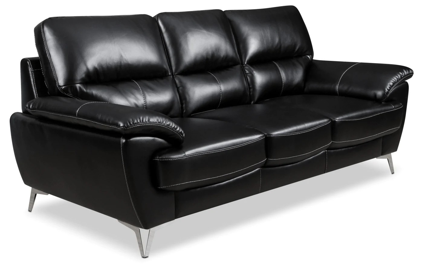 Sofa Couch The Brick Olivia Leather-look Fabric Sofa – Black | The Brick