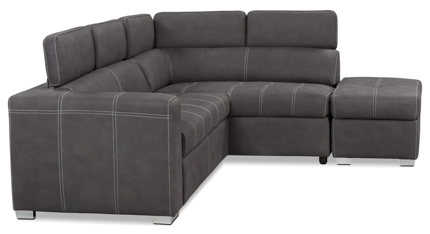 Sofa Bed For Sale Toronto Drake 3 Piece Faux Suede Right Facing Sleeper Sectional Cement