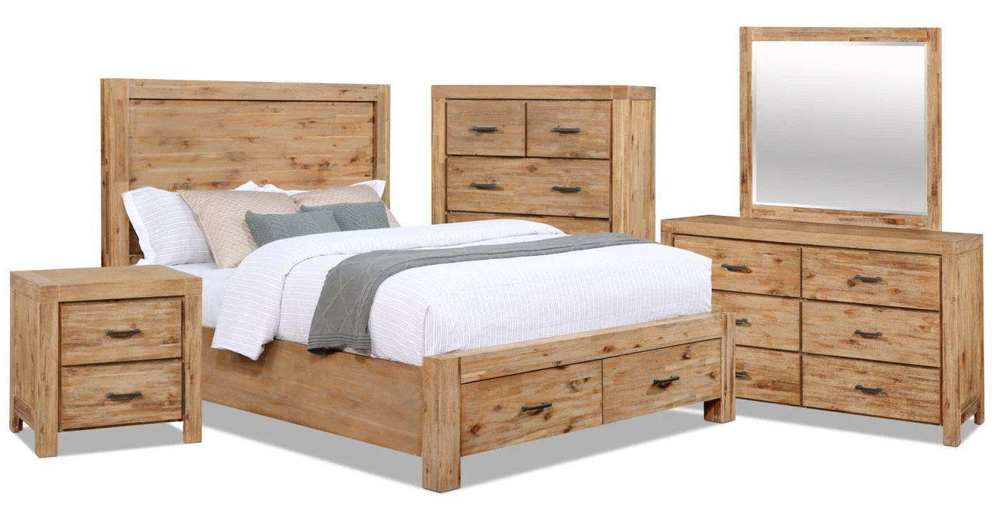 Chambre à Coucher Wood Acadia 7 Piece Queen Storage Bedroom Package