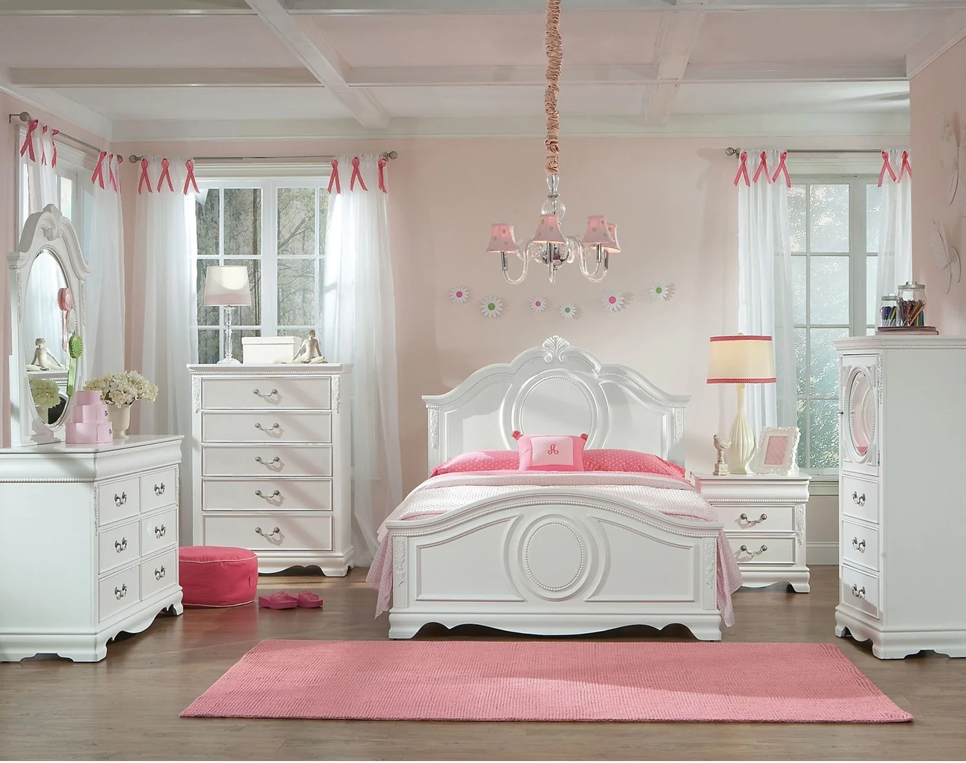 Meuble Aubaine Set De Chambre 6 Piece Jessica White Finish Full Bedroom