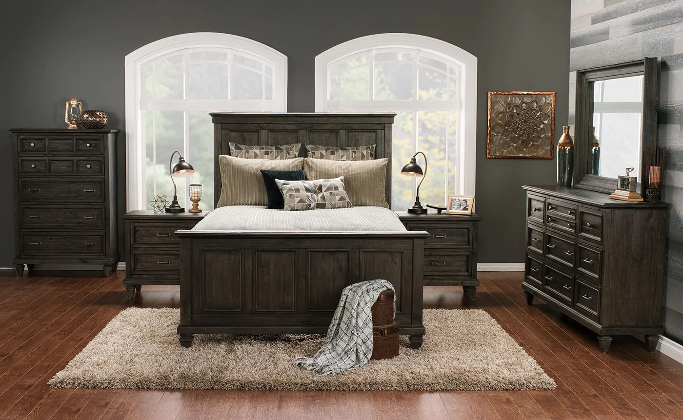 Meuble Accent Base De Lit Calistoga 5 Piece Queen Bedroom Package Weathered Charcoal