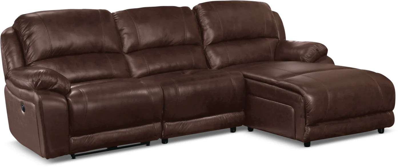 Genuine Leather Sectional Canada Marco Genuine Leather 3 Piece Sectional With Right Facing Inclining Chaise Chocolate
