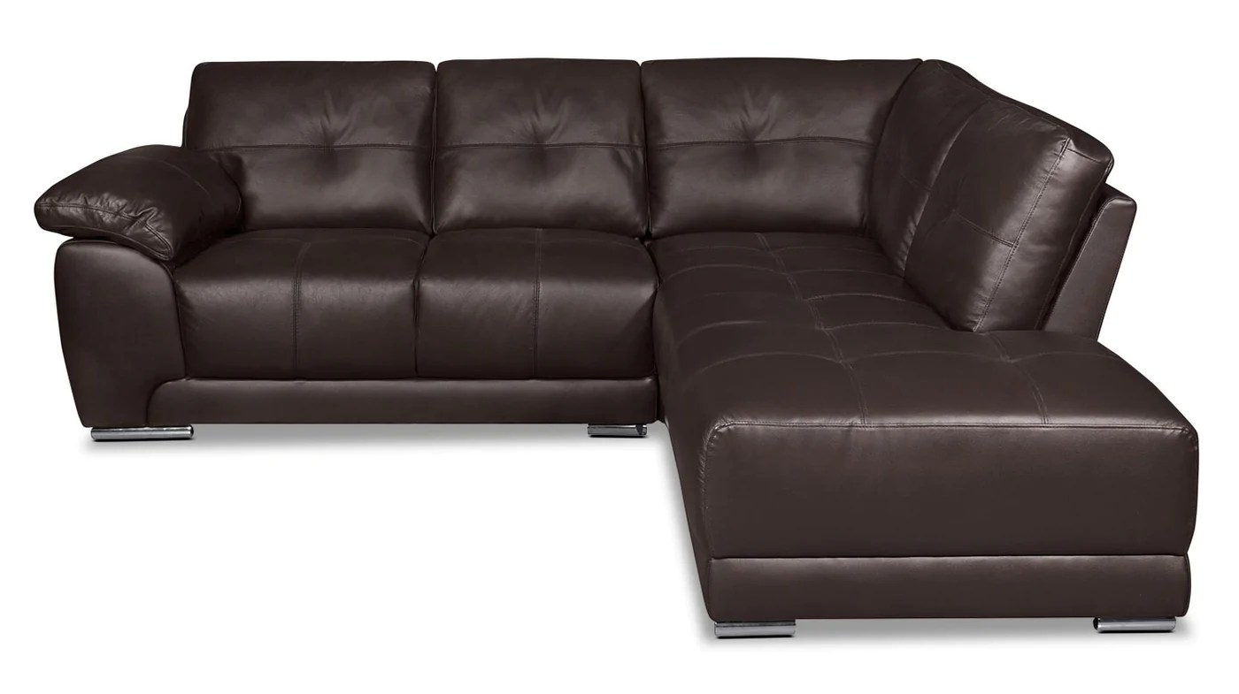 Genuine Leather Sectional Canada Rylee 2 Piece Genuine Leather Right Facing Sectional Brown
