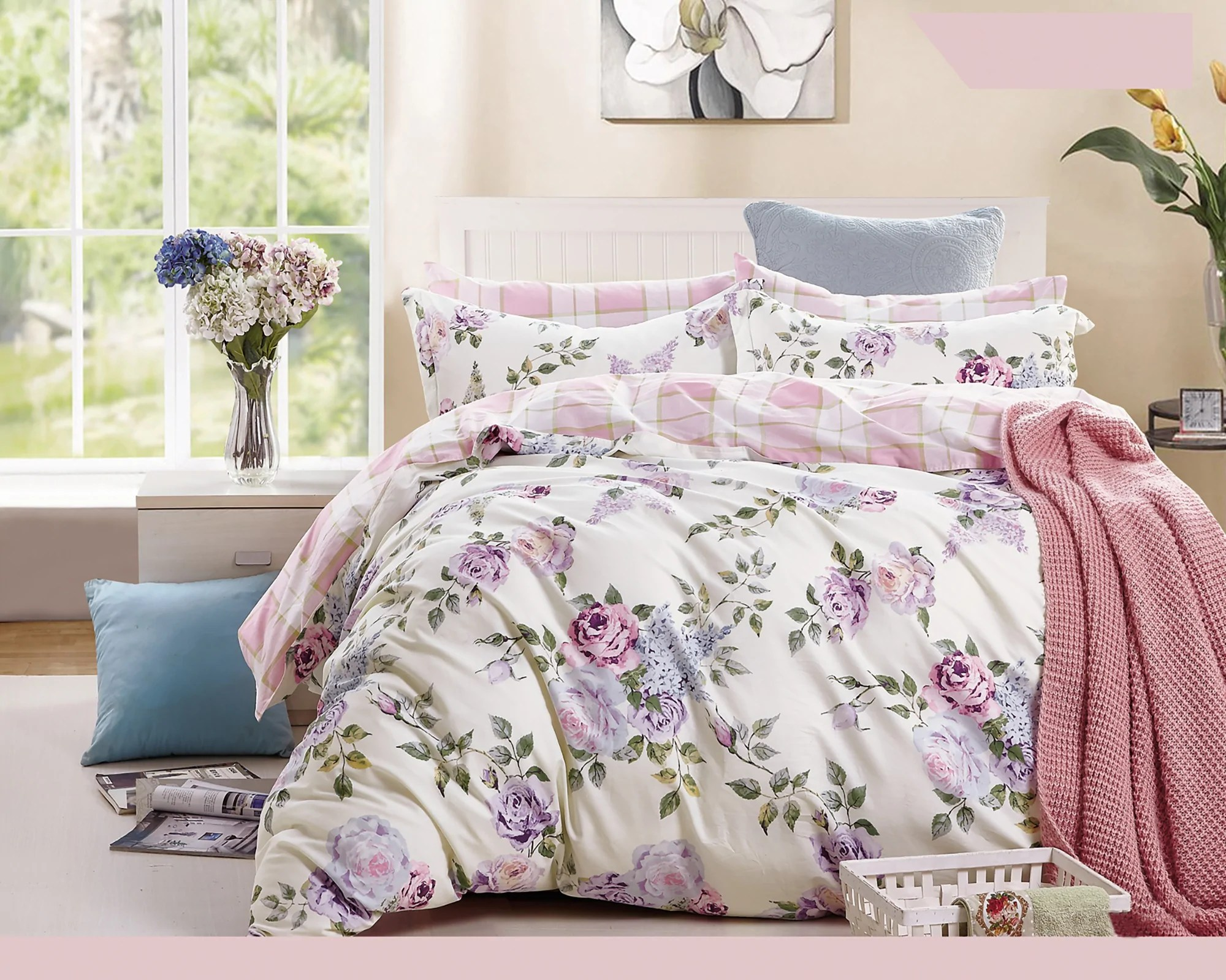 Pink Duvet Cover Pink Purple Roses 3 Piece 100 Cotton Bedding Set Duvet Cover And Pillow Shams