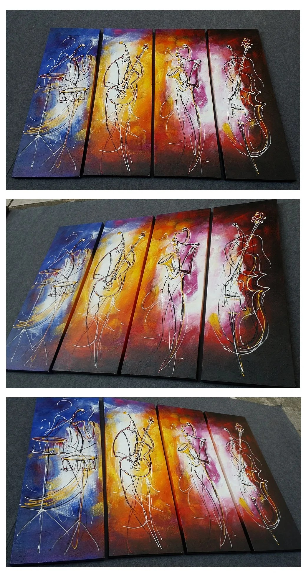 Art Wall 4 Piece Wall Art Music Player Painting Extra Large Art Abstract
