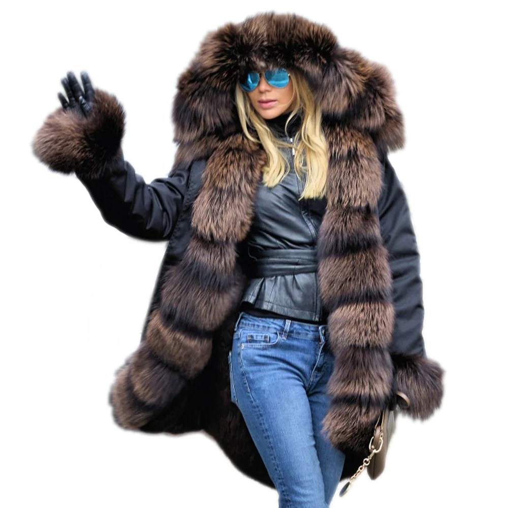 Fur Womens Thickened Warm Faux Fur Parka Women Hooded Long Winter Jacket Coat Overcoat