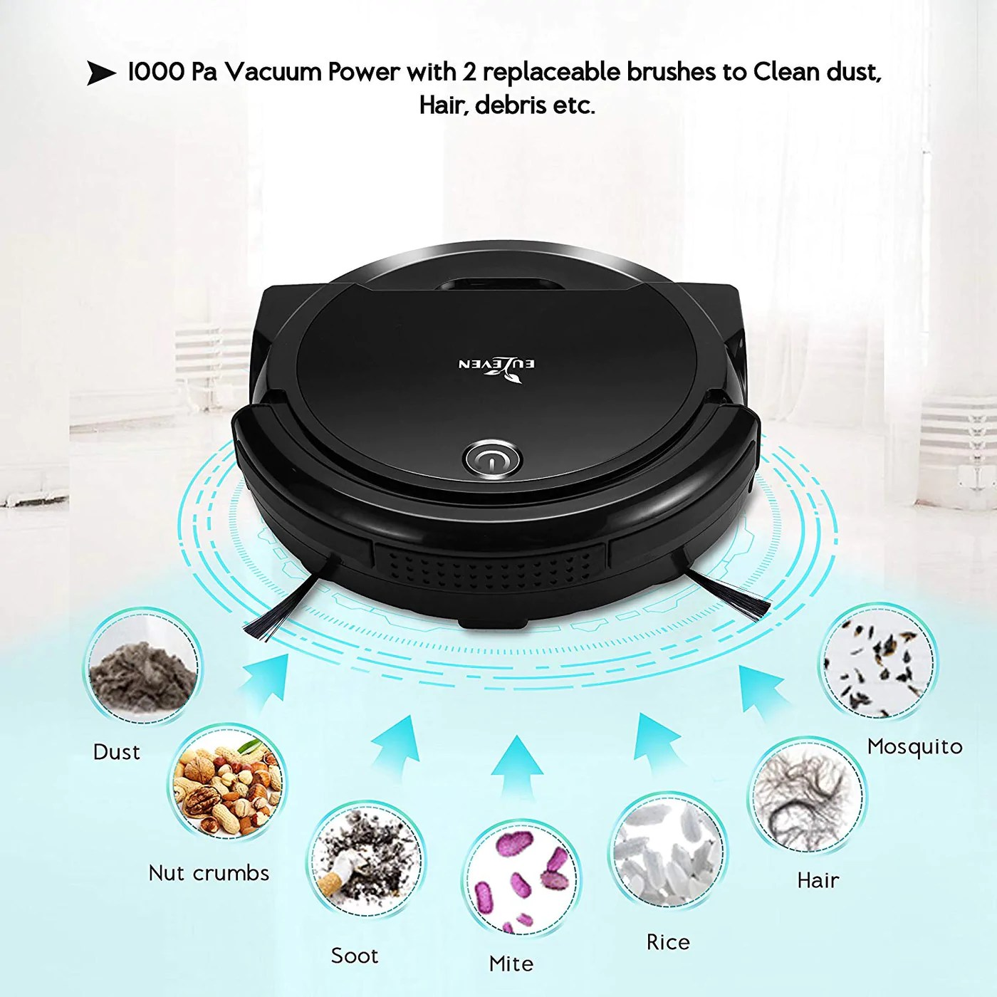 Sofa Vacuum Cleaner Brush Euleven 3 In 1 Floor Robotic Vacuum With Smart Mopping Cleaner For Hardwood Floor Short Carpet Hepa Filter For Pet Hair Allergies Friendly