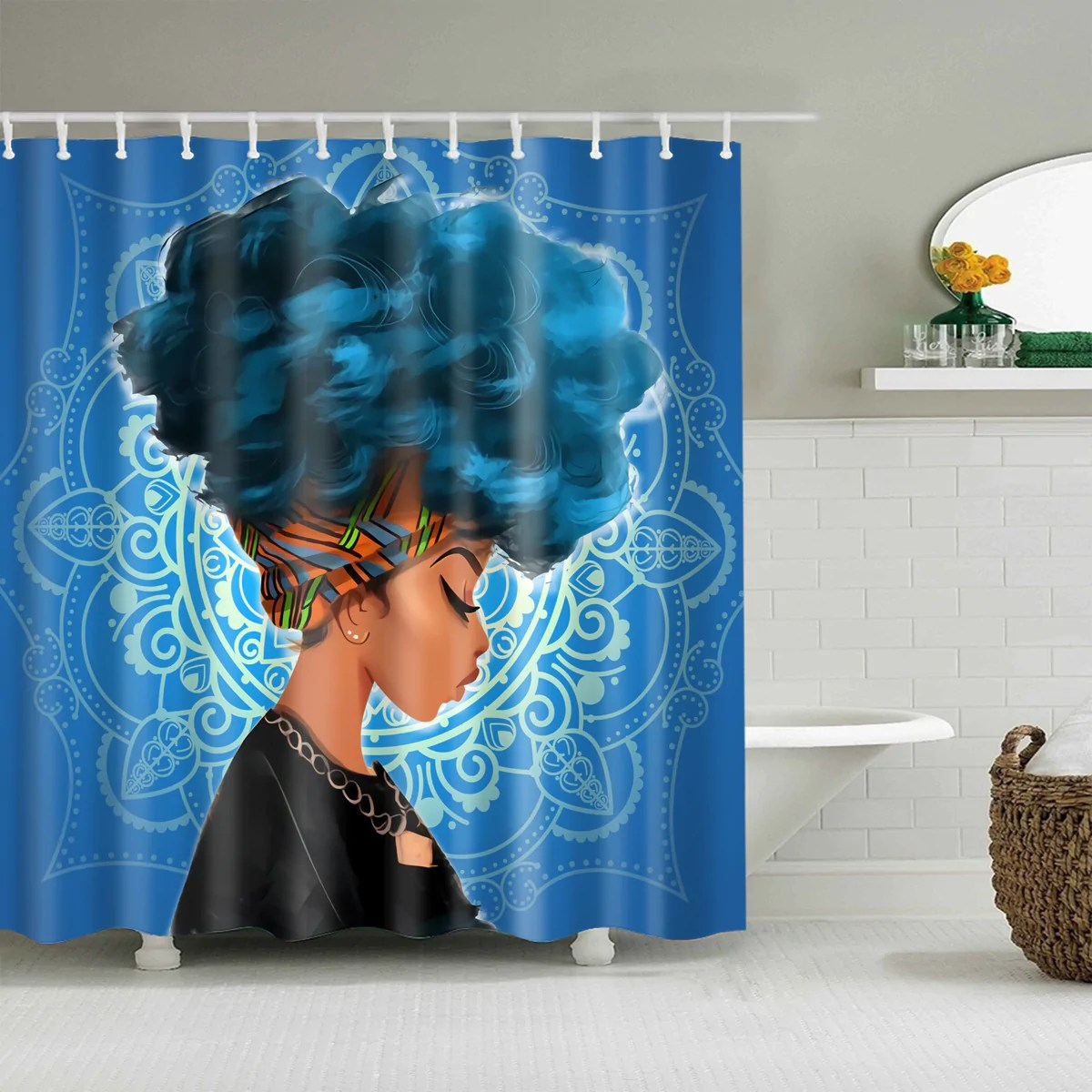 Black And Blue Curtains Afro African Black Girl Magic Shower Curtain Bathroom Decor