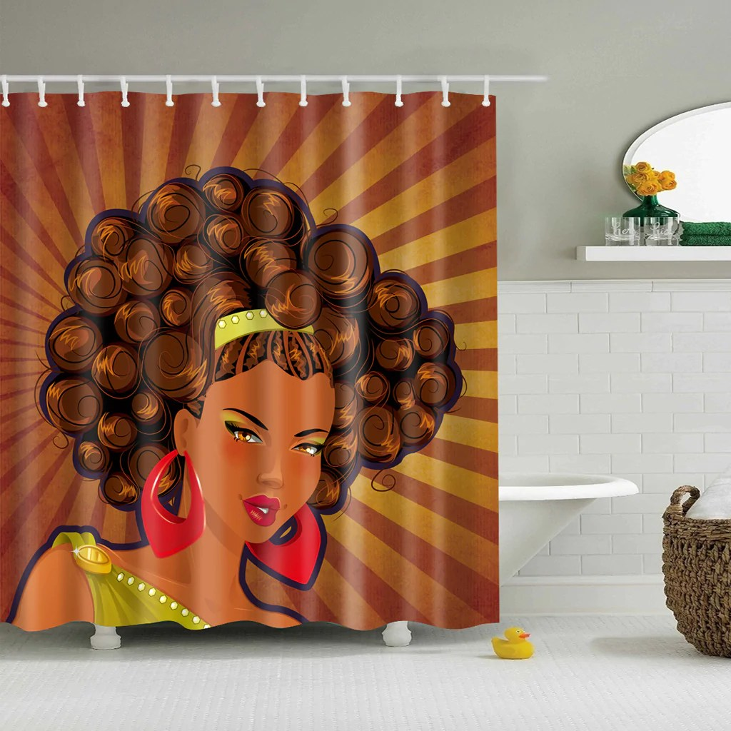 Black Queen Shower Curtain Afro Black Queen Elegant Hairstyle Shower Curtain Bathroom Decor
