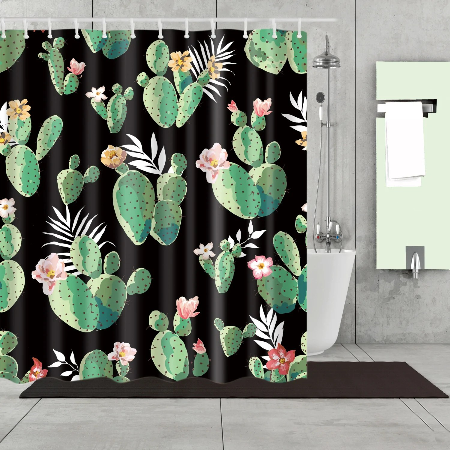 Black Queen Shower Curtain Black Backdrop Queen Of The Night Cactus Shower Curtain Bathroom Decor