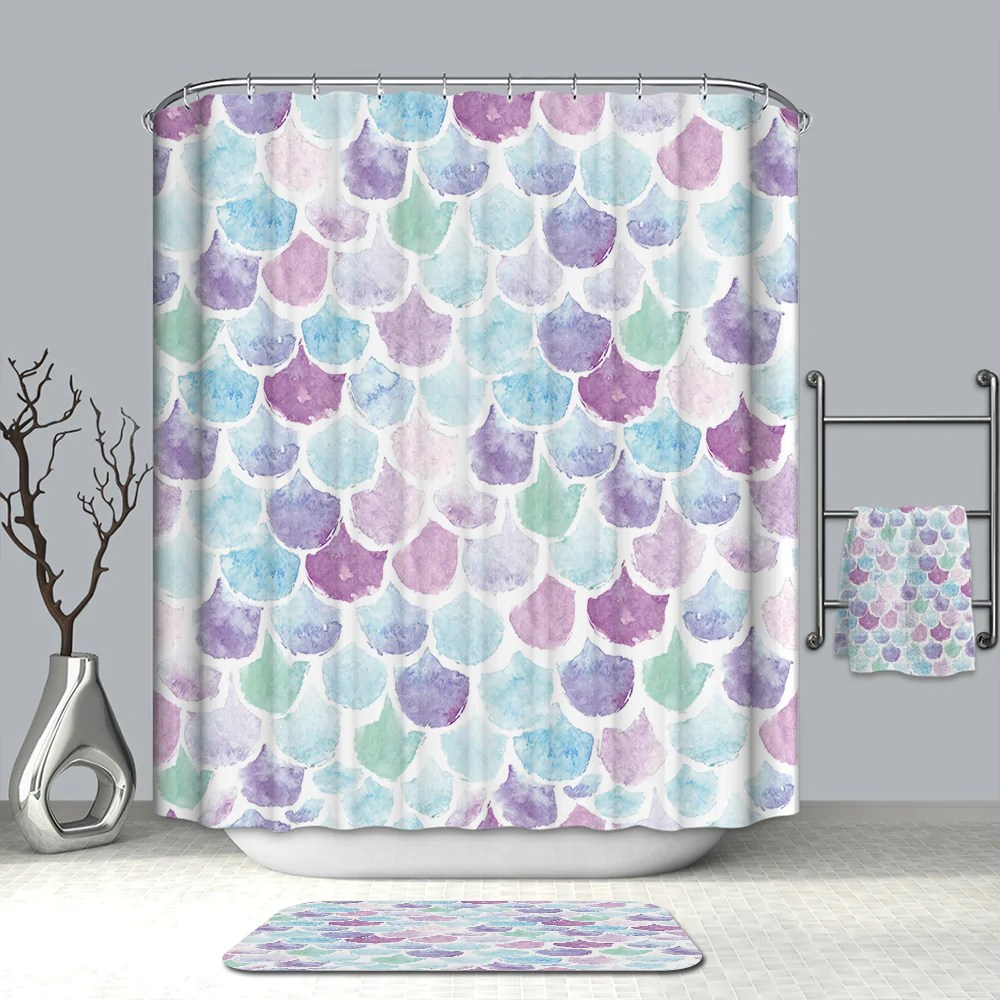 Mermaid Scale Shower Curtain Iridescent Mermaid Pastel Scales Shower Curtain Bathroom Decor