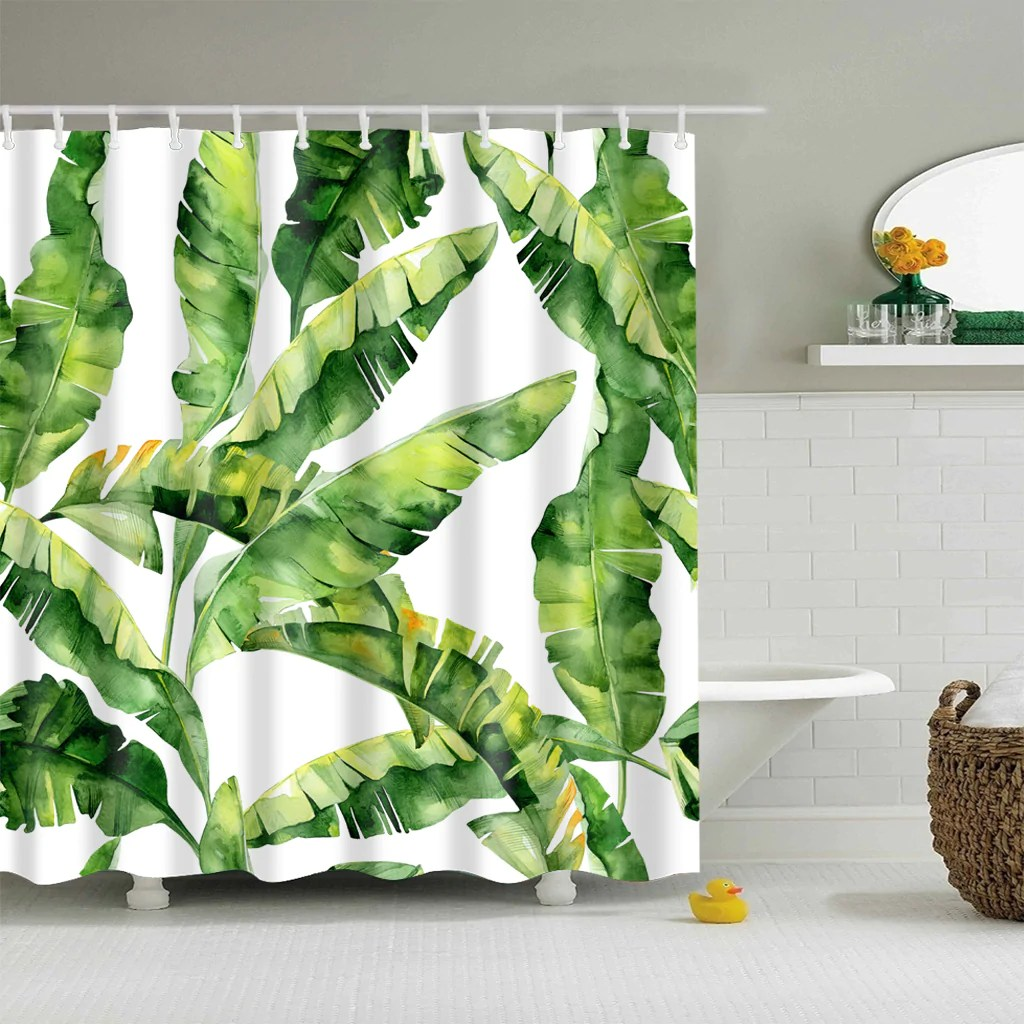Banana Leaf Shower Curtain Jungle Green Decor Palm Banana Leaves Shower Curtain Bathroom Decor
