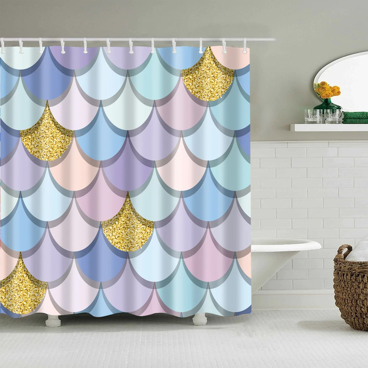 Mermaid Scale Shower Curtain Pastel Mermaid Tail Scale Geometric Shower Curtain Bathroom Decor