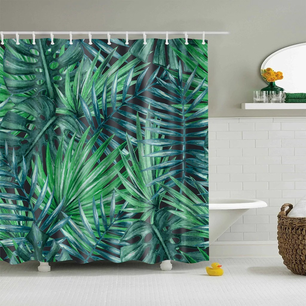 Banana Leaf Shower Curtain Tropical Banana Leaf Shower Curtain Nature Green Bathroom Decoration