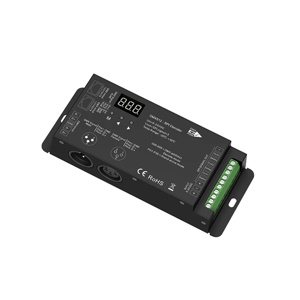 Led Strip Light Dmx Controller Dmx To Spi Decoder Haloled Spi Led Strip Controller