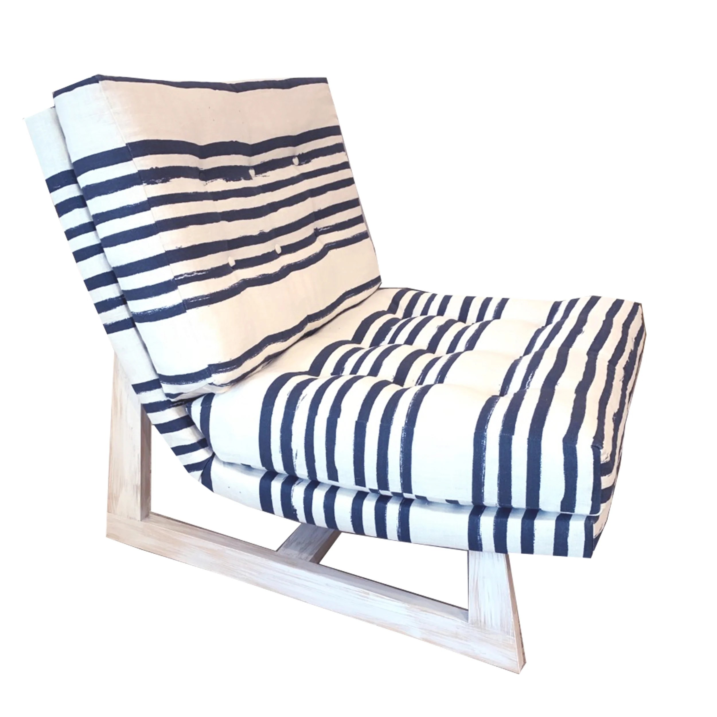 Romeo Chair In Stripe On Stripe Linen Kerri Rosenthal