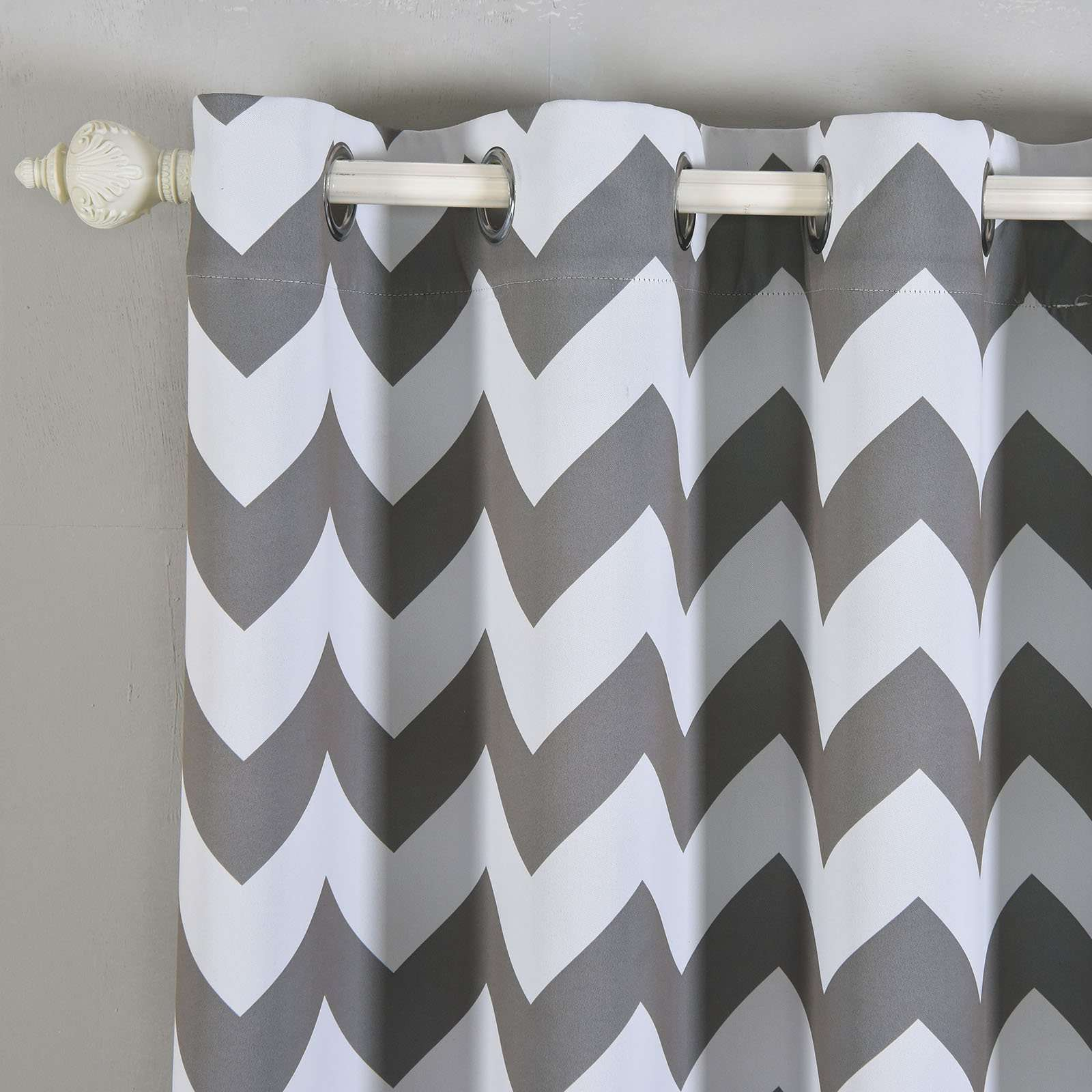 Black And White Chevron Blackout Curtains 2 Pack 52