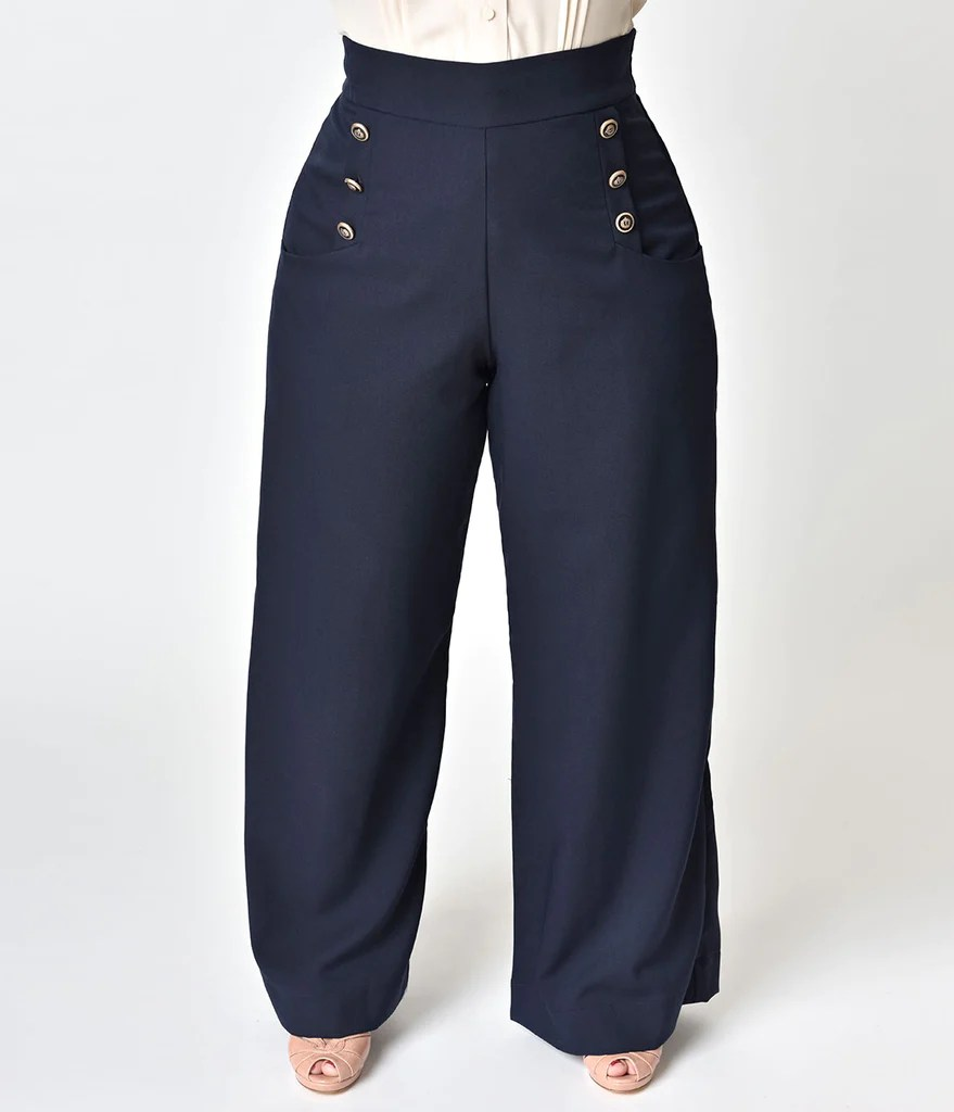 Bad Vintage Style Unique Vintage Plus Size 1940s Style Midnight Blue High Waist Sailor Ginger Pants