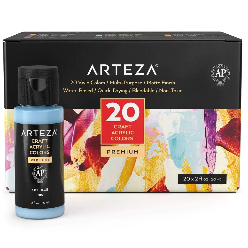 Shop Arteza Craft Acrylic Paint Set Of 20 Co At Artsy Sister