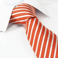 Orange And White Striped Luxury Silk Tie  The Cufflink Store