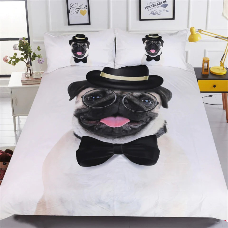 Beddingoutlet Gentleman Pug Bedding Set 3d Animal Bed Cover For Kids H Fabcharm