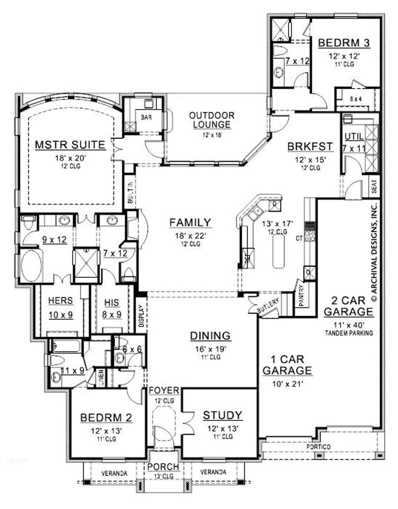 Tandem Garage House Plans Ceto Medio House Plan