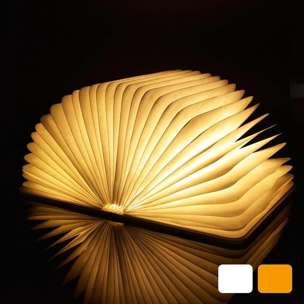 Book Lights Led Night Light Folding Book Light Usb Port Rechargeable Wooden Magnet Cover Home Table Desk Ceiling