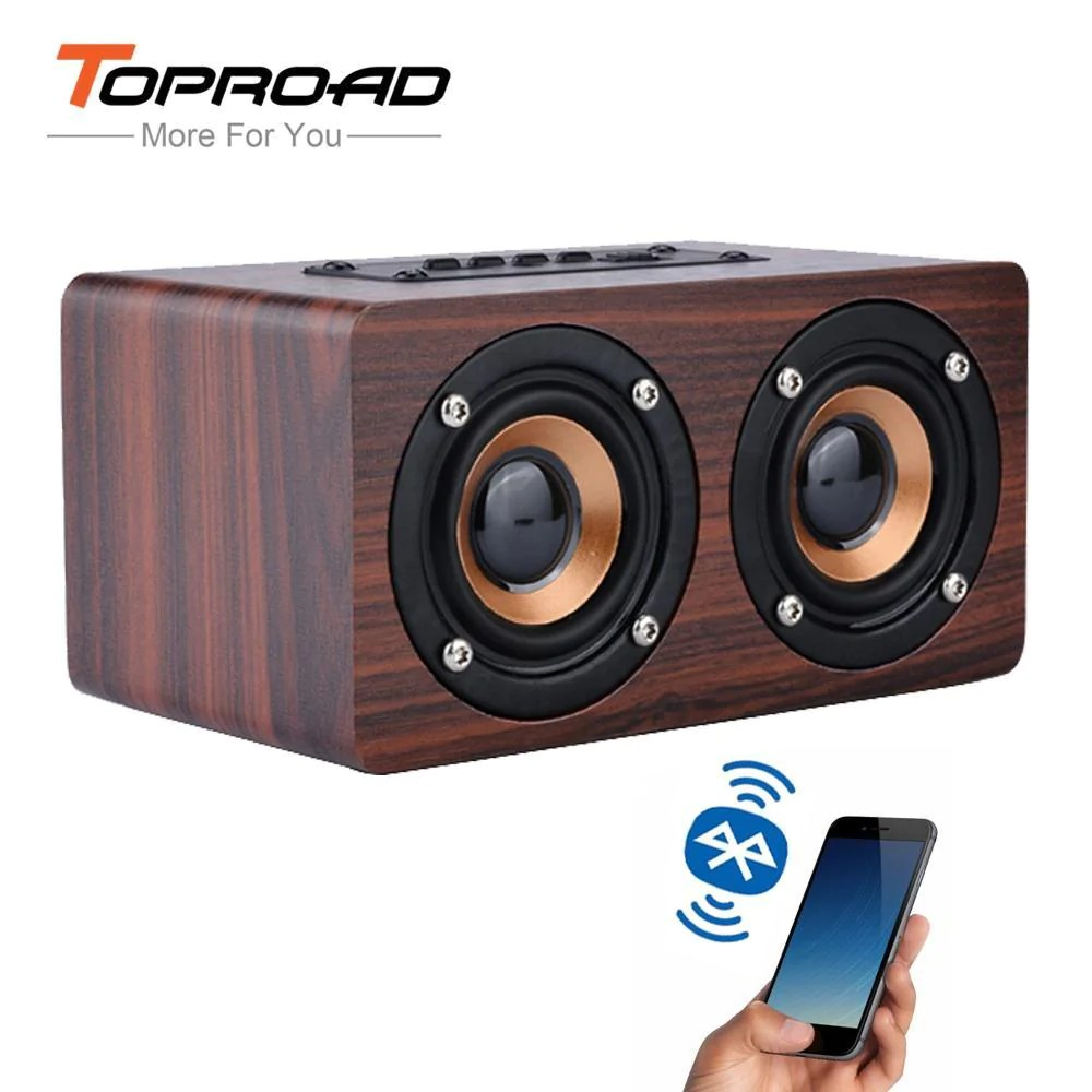 Hifi Bluetooth Toproad Wooden Wireless Bluetooth Speaker Portable Hifi Shock Bass Altavoz Tf Caixa De Som
