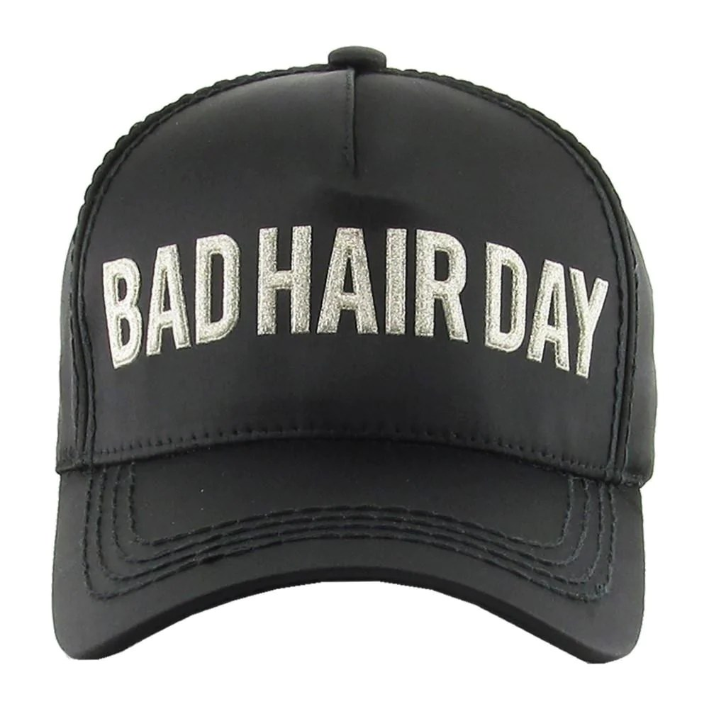 Bad Vintage Style Bad Hair Day Embroidered Vintage Style Ball Cap With Washed Look Details