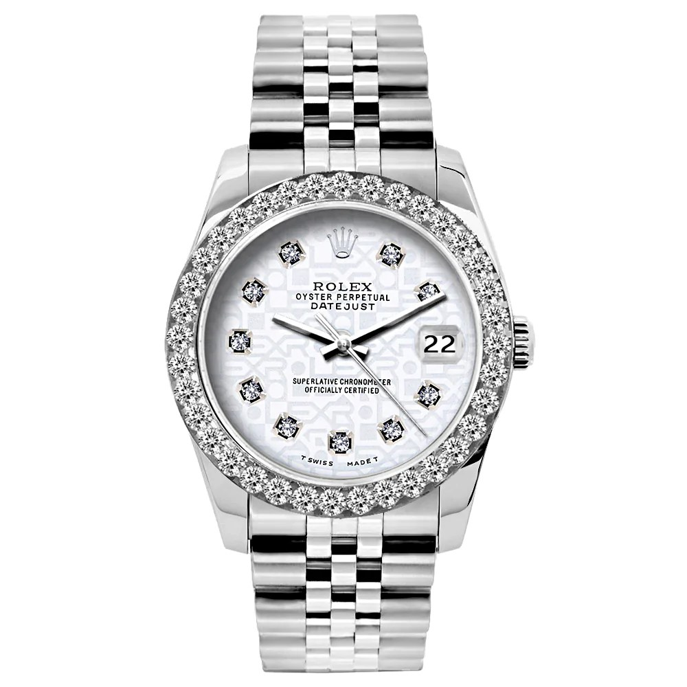 Steel Rolex Rolex Datejust 26mm Stainless Steel Bracelet White Rolex Dial W Diamond Bezel