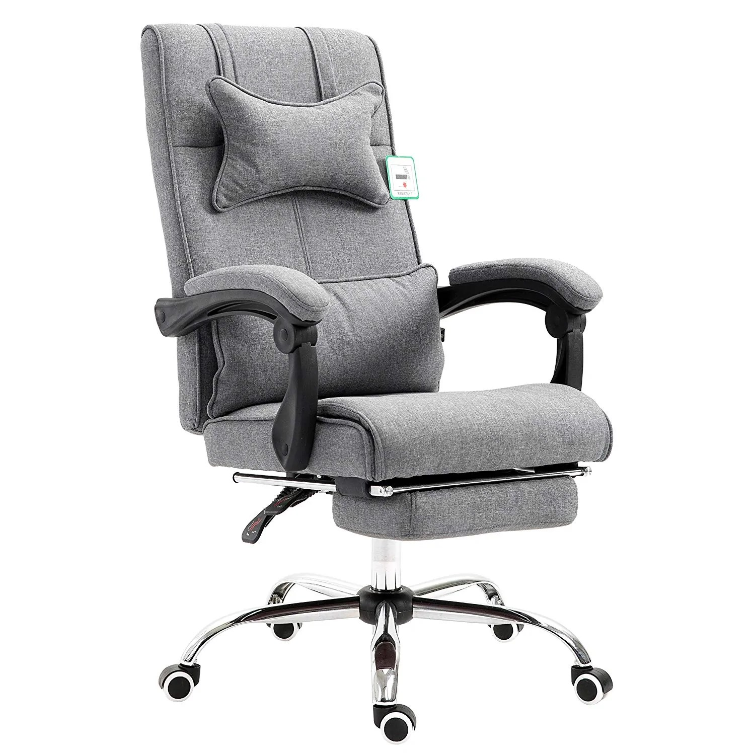 Grey Desk Chair Premium Executive Reclining Desk Chair With Footrest Headrest And Lumbar Cushion Support Grey Fabric