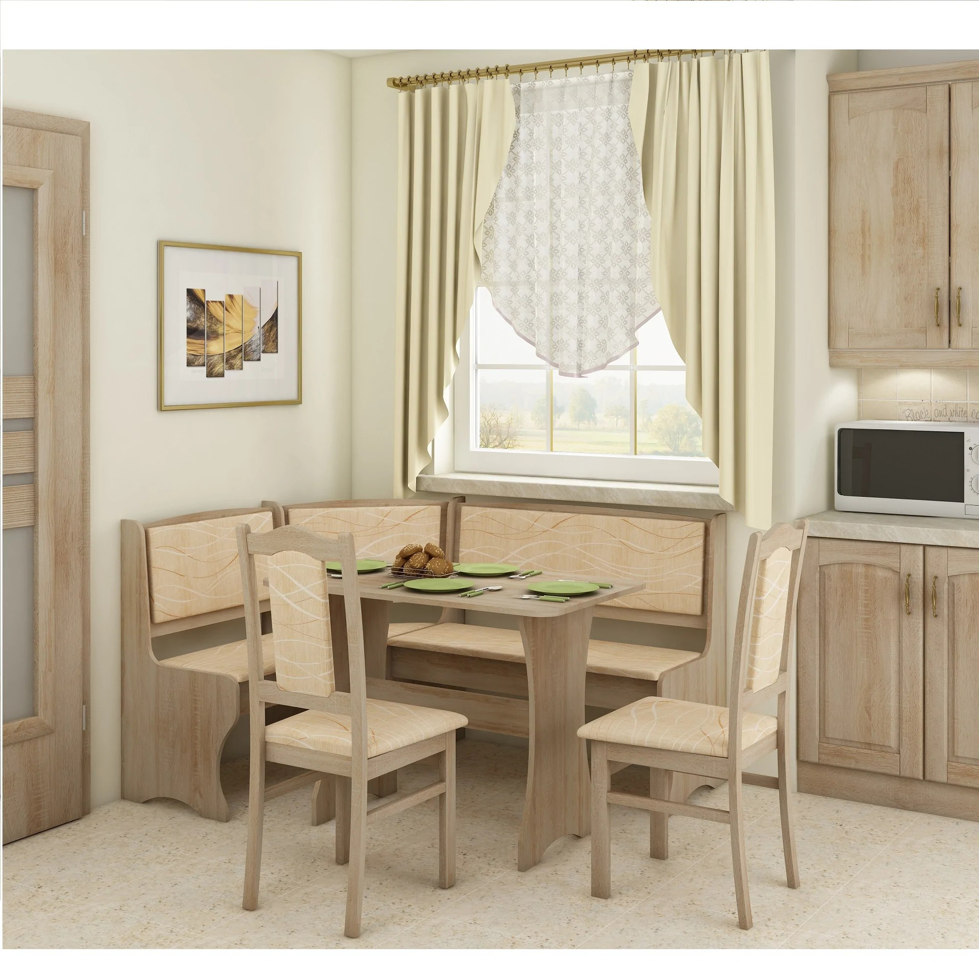 Breakfast Nook 4 Piece Corner Dining Set Multiple Finishes Furniture Agency