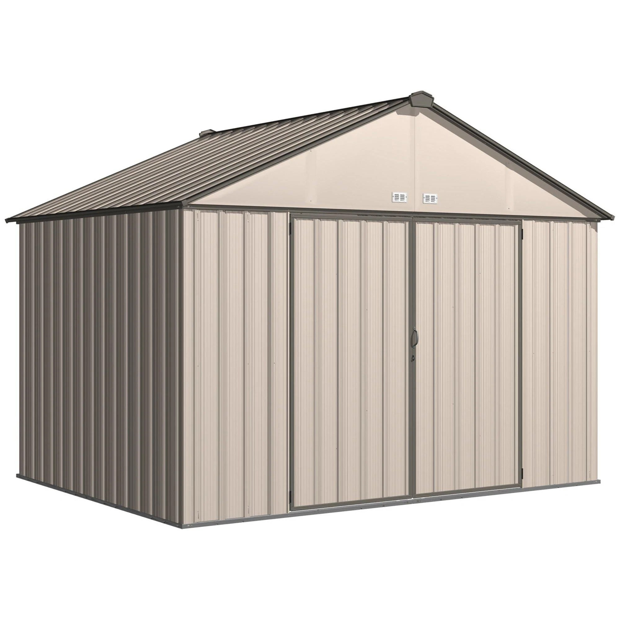 Steel Storage Sheds Arrow Ezee Shed Extra High Gable Steel Storage Shed Cream Charcoal Trim 10 X 8 Ft