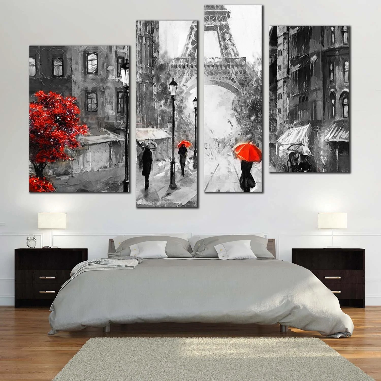 Black And White Artwork For Bedroom France Street Canvas Wall Art Red Tree People With Umbrella Canvas Print Paris Grey Cityscape 4 Piece Canvas Set