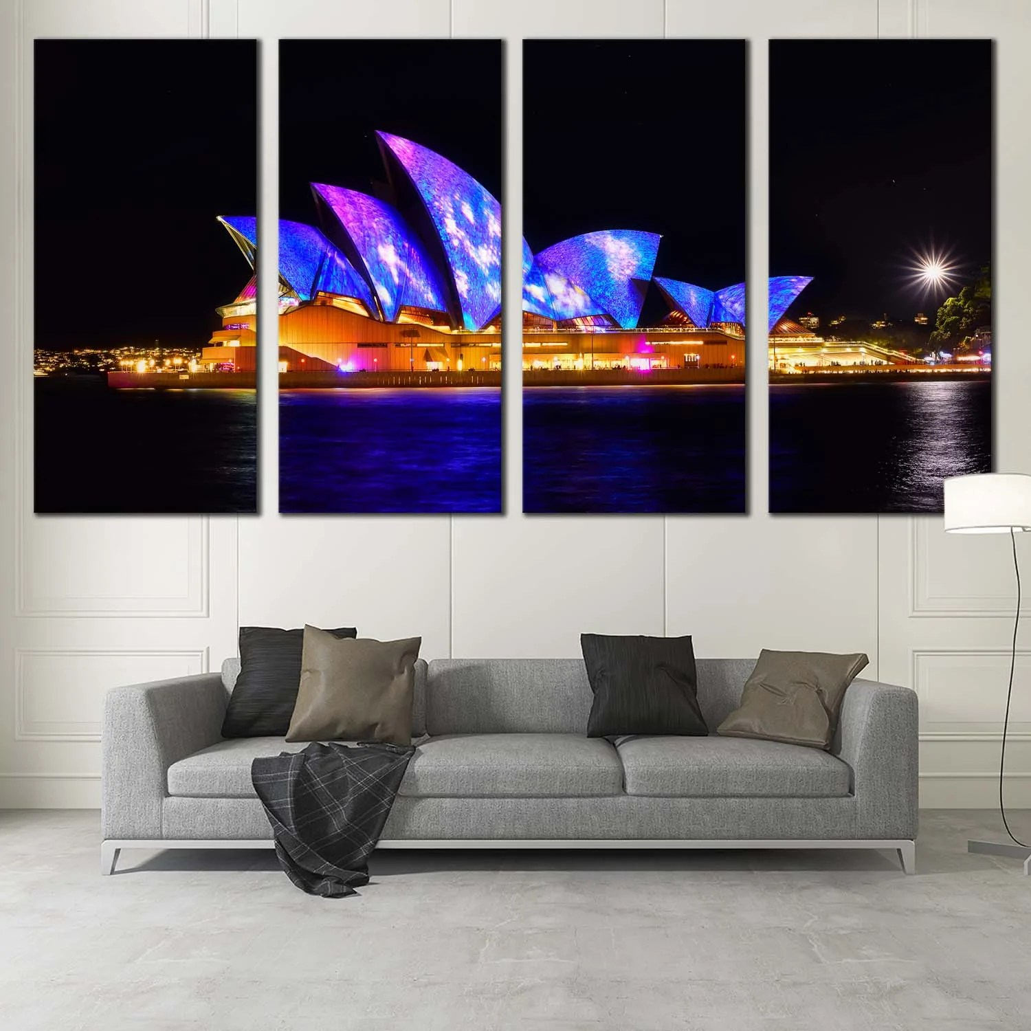 Wall Prints For Living Room Australia City Skyline Canvas Wall Art Black Australia Illuminated Sky 3 Piece Canvas Wall Art Blue Sydney Opera House Canvas Print Colourful City Light