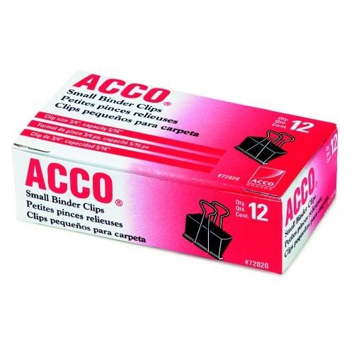Acco Small Binder Clips, 12ct - Sterling College Bookstore