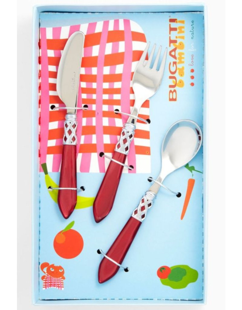 Red Handle Flatware Red Child Flatware Set 3pc