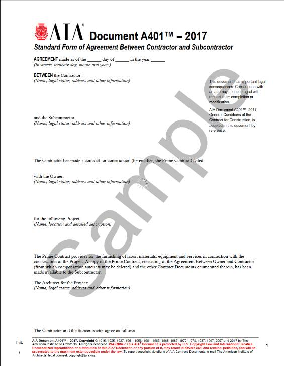 A401\u20132017, Standard Form of Agreement Between Contractor and