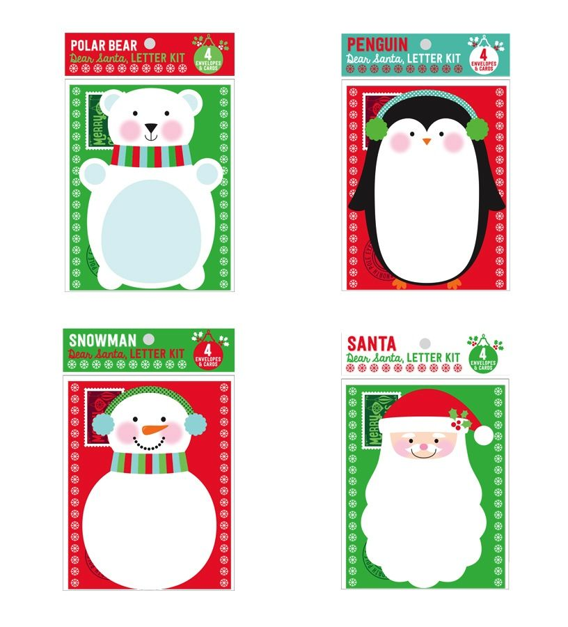 playtime dear santa letter kit-set of 4 cards/envelopes - mod mama