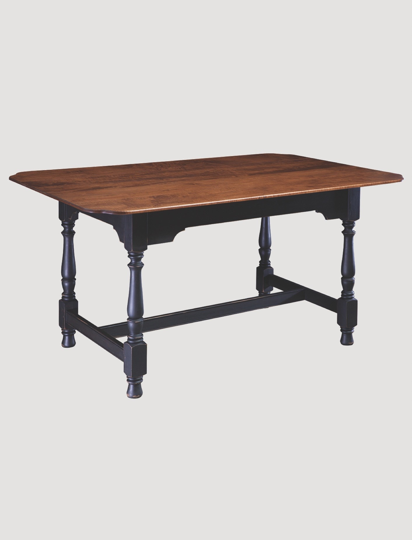 Dining Table Designs Harvest Tiger Maple Top Dining Table With Black Rubbed Legs