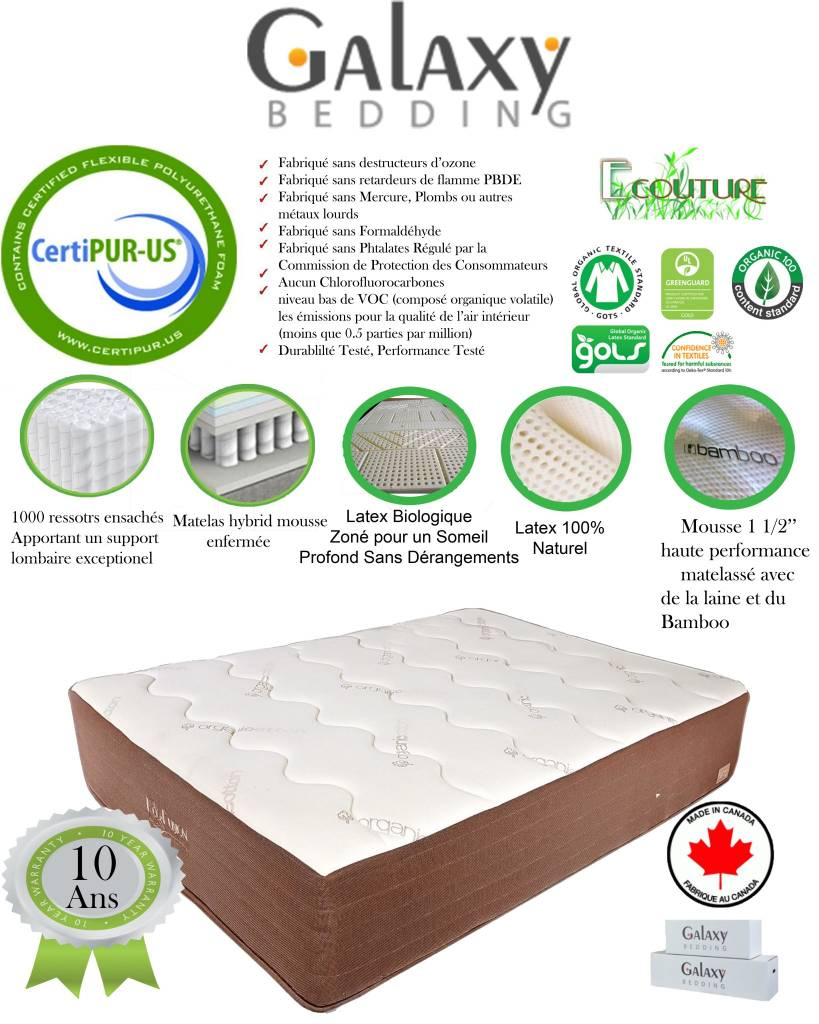 Top Interieur Boxspring Galaxy 60 Queen Ecouture 400 Natural Organic Latex Bio Foam Mattress Tight Top Bed In A Box