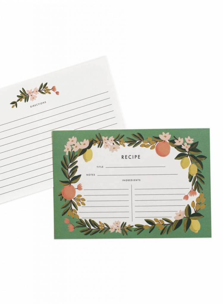 Rifle Pack of 12 Citrus Floral Recipe Cards - Highcroft Fine Linens